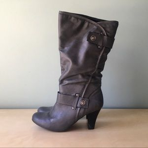Grey sexy boots mid calf heeled 8 a.n.a.